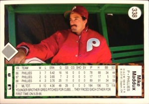 Mike Maddux 1989 Upper Deck Baseball Card (Back)